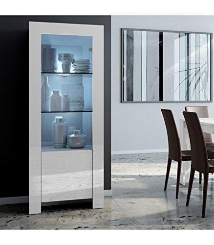 InHouse srls Vitrina Moderna en Madera, con 2 Puertas, Blanco Lacado, 65x47 170H. Estantes de Cristal con led Integrados.