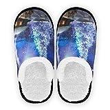 Zapatillas para hombre y mujer, diseño de árbol de Navidad y luna, forro de felpa, cómodas, de forro polar, para interiores y exteriores, para spa