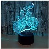 Luz de noche Luz de noche Luz de bicicleta de montaña Luz 3D Luz LED 3D de visión colorida para conducción táctil y luz nocturna 3D colorida