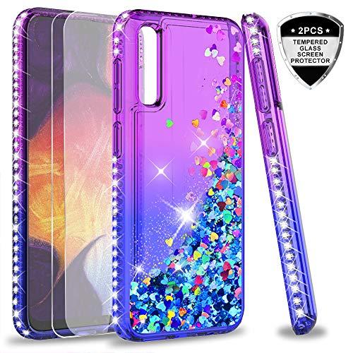 LeYi per Cover Samsung Galaxy A50 / A30s / A50s con Vetro Temperato [2 Pack], Custodia Silicone Diamond Glitter Brillantini TPU Donna Belle Case per Samsung Galaxy A30s Viola Blu Gradient