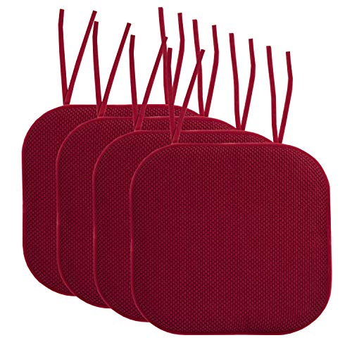 Sweet Home Collection Chair Cushion Memory Foam Pads with Ties Honeycomb Pattern Slip Non Skid Rubber Back Rounded Square 16' x 16' Seat Cover, 4 Pack, Wine Burgundy 4 Count
