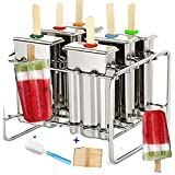 Stainless Steel Popsicle Molds and Rack stainless steel popsicle maker -ice pop molds bpa free -ice Cream Mold pop molds with wooden sticks-ice pop maker molds popsicle molds stainless steel