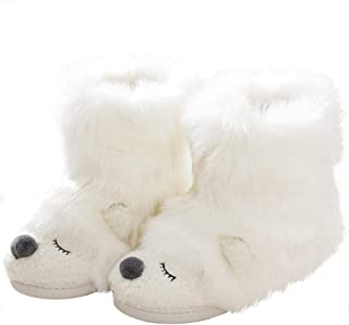 Image of Furry White Bear Bootie Slippers for Women