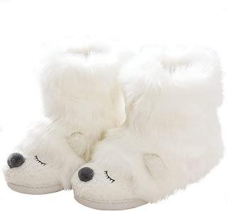 Cute Animal Furry Bear Booties Slippers for Women Indoor Outdoor
