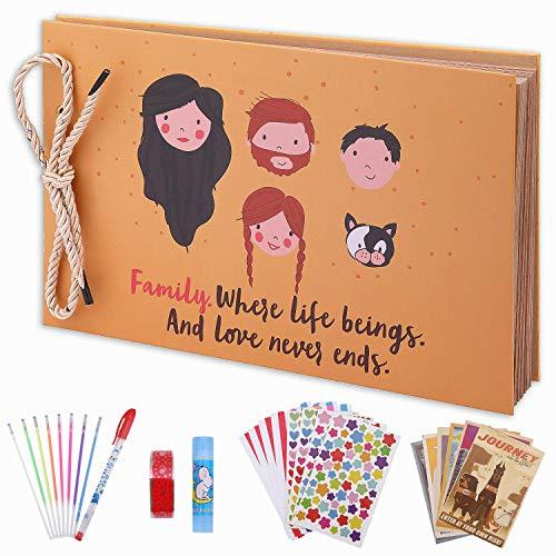 OUME Scrapbook Álbum de Fotos Libro de Visitas de La familia con 80 páginas Presentes para Regalo de Valentín Día de Aniversario Navidad Cumpleaños para Esposa Hija Madre, (Álbum familiar)