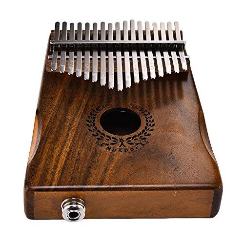 17 Tasten Thumb Piano, Massivholz Kalimba, Finger Piano - Sound Hole Link Elektrische Lautsprecher mit Musik Buch Tune Hammer und Tasche