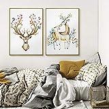 Cartel de decoración de pared de fondo de sofá moderno Simple de ciervo pintura de dormitorio de restaurante de sala de estar fresca pequeña / 40x60cmx2 sin marco