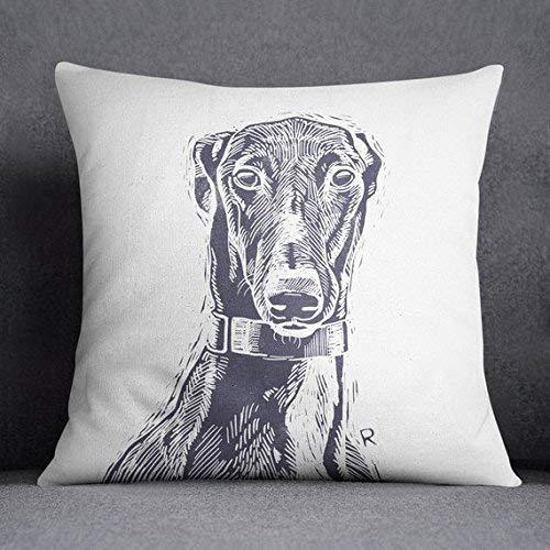 Stan256Nancy Cusion Covers funda de almohada para galgo de perro, retrato para mascotas, regalo para amantes de los perros, raza de perro, moderno, diseñador, arte mínimo, regalo para ella, gris, púrpura