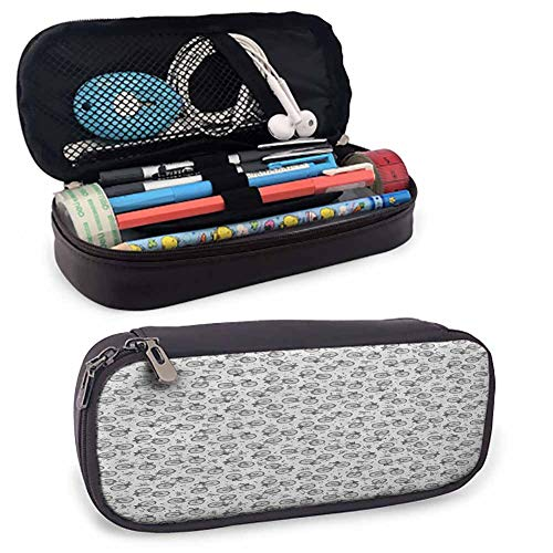 Bicycle Pencil Bag Pen Case Hand Drawn White and Black Adult and Child Bicycles with Baskets Among Wrenches for Pens, Pencil, Samsung Stylus, Tools, USB Cable and Other Accessories 8'x3.5'x1.5'
