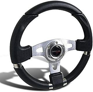 Spec-D Tuning SW-103 340Mm JDM Racing Sport Aluminum Steering Wheel W/Black PVC Leather+Stitching