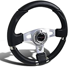 Spec-D Tuning SW-103 340Mm JDM Racing Sport Aluminum Steering Wheel W/Black PVC Leather+Stitching