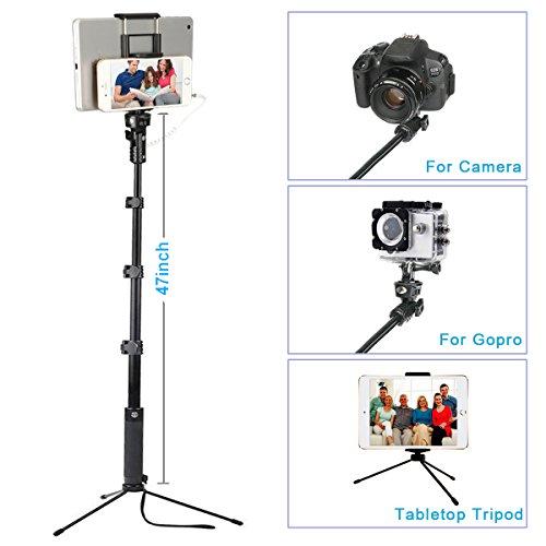 """ohCome Selfie Stick [Senza Bluetooth e Batteria] 16.5-57"""" Con Cavo Portatile Alluminio Monopiede con Stand Treppiede e 2-in-1 Supporto Clip per 3.5-10"""" iPad, Tablet, Telefoni Android e Gopro Cameras"""