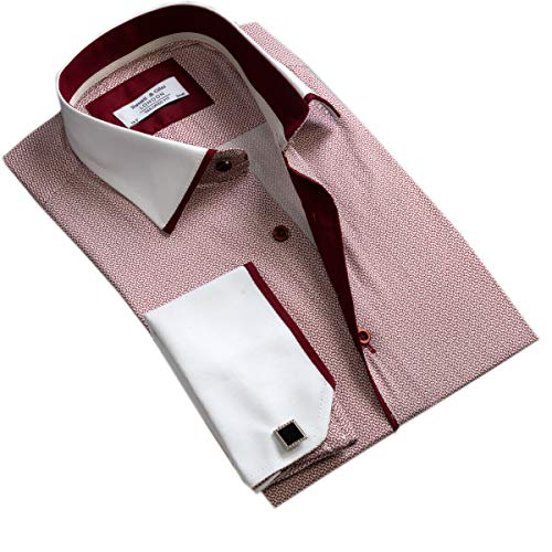 Russell & Giles Mens Double Cuff Formal Dress Shirt Tailored Fit (Metal Cufflinks Included)