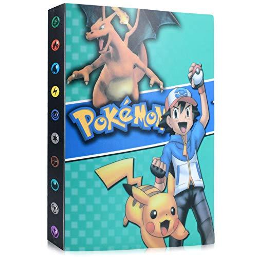 Funmo Pokémon Carte Album, Pokémon Cartes Album pour Cartes Pokemon GX EX, Classeur Carte Pokemon Album, Peut accueillir 120 Cartes à Unique ou 240 Cartes à Double (Ash Ketchum) (Bleu)