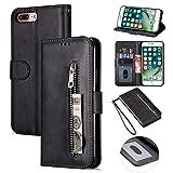 ZTOFERA iPhone 7 Hülle, Flip Leder Magnetisch Folio Wallet Standfunktion Reißverschluss schutzhülle mit Trageschlaufe, Brieftasche Hülle für iPhone 7/iPhone 8- Schwarz