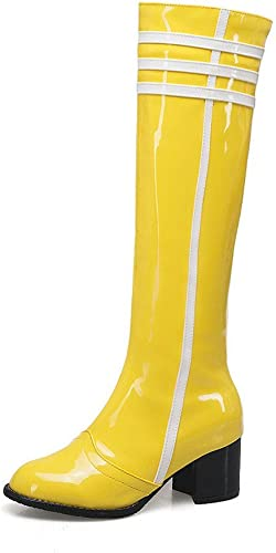 Sandalette-DEDE Stiefel Altas, Stiefel de Moda, Tacones Altos, Farbees Vivos, Stiefel de damen, Stiefel de Tubo Alto, Gelb, Cuarenta y Cinco