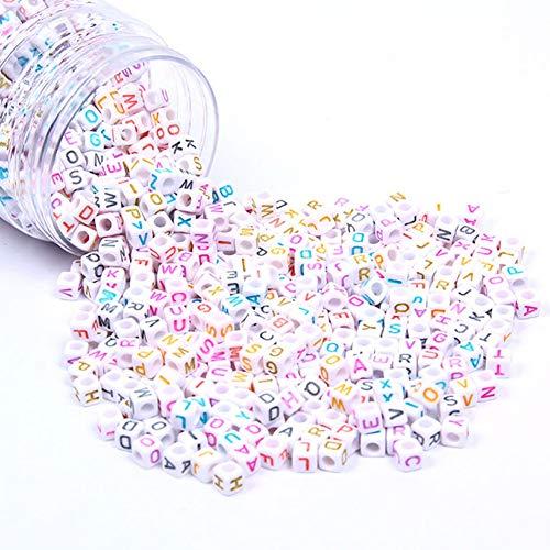 DAHI buchstabenperlen bunt ca.1000stk - gemischte weiß perlen mit bunt Buchstaben A-Z würfelperlen für Schmuck Basteln (bunt buchstaben/6x6mm)