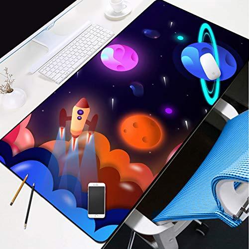 JIACHOZI Alfombrilla de ratón para Gaming Nave Espacial de Planeta de Dibujos Animados 700×300×3 mm Alfombrilla de Ratón Extra Grande Alfombrilla de Ratón Alfombrilla Gaming Alfombrilla de ratón PC y