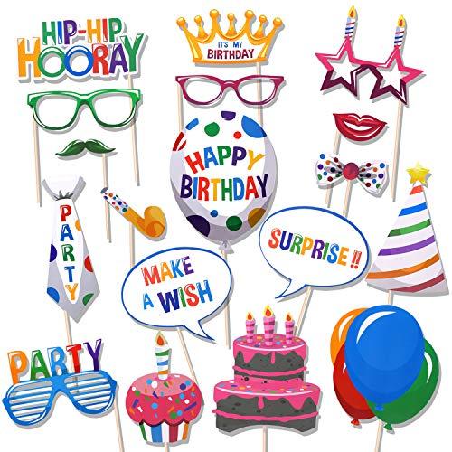 Howaf 18 Piezas cumpleaños photocall DIY Photo Booth Atrezzo Favorecer Incluyendo Bigotes Gafas Sombreros Coronas cotillon para fiestas cumpleaños Accesorios Decoracion