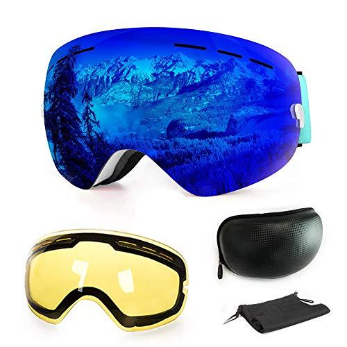 WLZP Gafas de esquí antiniebla con protección UV para Snowboard, esquí, Skating y Otros Deportes de Nieve, con Lentes esféricas Intercambiables Dobles, para Hombres, Mujeres y jóvenes