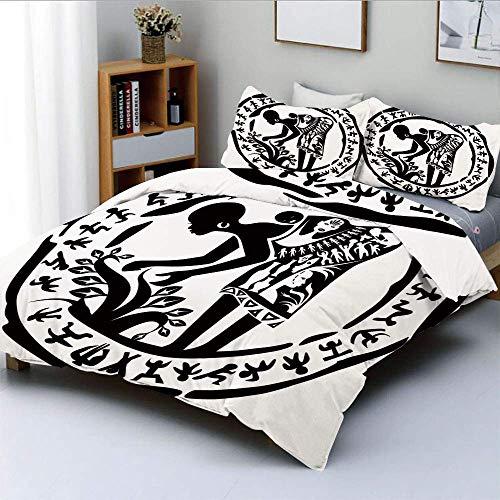 Juego de funda nórdica, marco redondo en forma de anillo con mujer tribal, agricultura, arte prehistórico, decorativo, juego de cama de 3 piezas con 2 fundas de almohada, blanco y negro, el mejor rega