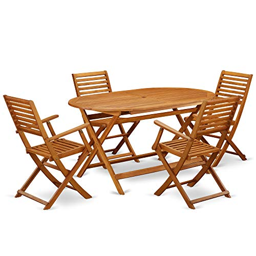 This 5 Piece Acacia Wooden Balcony Sets includes a single outdoor table and 4 foldable outdoor chairs