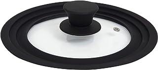 Houseables 鍋蓋 フライパンカバー ユニバーサル (6 7 8 インチに適合) S シリコン 強化ガラス ブラック 厚さ4mm 通気口 調理器具 スプラッシュガード フライパン クロコポット 鋳鉄スキレット