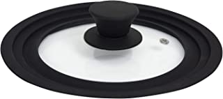 Houseables Pot Lid, Pan Cover, Universal (Fits 6,7,8 Inch), Small, Silicon, Tempered Glass, Black, 4mm Thick, Vented, Cookware Splash Guard, Replacement Top for Frying Pan, Crockpot, Cast Iron Skillet