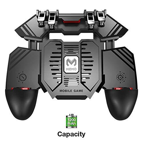 Sunneey mobiele gamepad-koeler voor PUGB, USB-ventilator voor mobiele telefoons voor MEMO, mobiele speelapparatuur en fysische assistenten, ingebouwde 1200/4000 mAh accu - schatfunctie opladen, 1200 mAh.