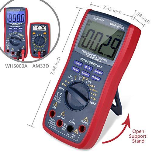 AstroAI Digital Multimeter, TRMS 6000 Counts Volt Meter Manual Auto Ranging; Measures Voltage Tester, Current, Resistance; Tests Diodes, Transistors, Temperature