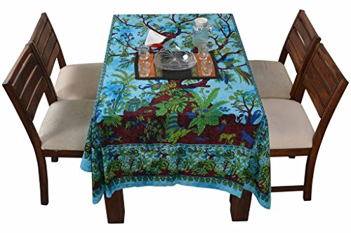 Jaipur Kala Kendra Indian funda para mesa rectangular algodón árbol de la vida Floral impreso mesa de comedor mesa hoja plana hoja de Bohemia étnica Decoración del hogar colcha de cama de Hippie
