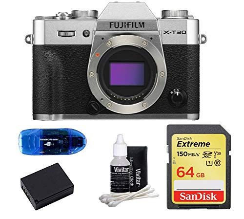 FUJIFILM X-T30 Mirrorless Digital Camera Body (Silver) Bundle, Includes: SanDisk 64GB Extreme SDXC Memory Card, Card Reader, Spare Battery and Lens Cleaning Kit (5 Items)