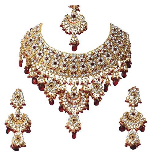Finekraft Collier de mariée plaqué or style Bollywood avec perles et zircons cubiques, avec tikka et boucles d'oreilles assorties