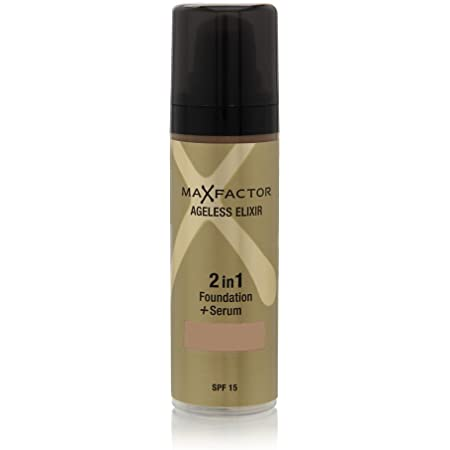 Max Factor Ageless Elixir 2 in 1 Foundation Plus Serum SPF 15, No.65 Rose Beige, 1 Ounce