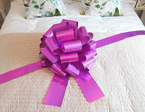 Jaffa Imports, Riesige Autoschleife (42cm) + 6Meter langes Band für Autos, Fahrräder, große Geburtstags- & Weihnachts-Geschenke, holografisches Rosa