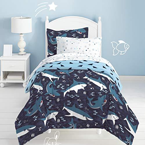 dream FACTORY Kids 5-Piece Complete Set Easy-Wash Super Soft Microfiber Comforter Bedding, Twin, Blue Sharks