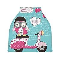 ハートかわいいフクロウバイクベビーカーシートカバー、キャノピー看護カバー、幼児の授乳の男の子のためのソフト通気性防風スカーフチェンジパッド