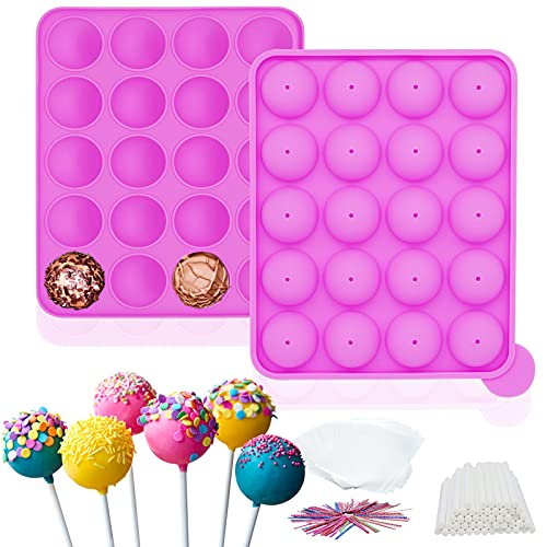 Anasido Silicone Cake Pop Molds Set, 20 Cavity Lollipop Maker Tray Molds with 70pcs Pop Stick/100pcs Parcel Bags/100pcs Colorful Metallic Twist Ties for Baking Lollipop, Hard Candy, Cake and Chocolate