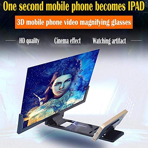 TechKing Mobile Phone 3D Screen Magnifier Enlarger Video Screen Amplifier Screen Enlarged Foldable Stand Holder Expander Compatible with Smartphone