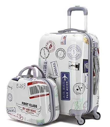 GREENWICH | Juego Maleta + Neceser Stamp | Trolley 4 Ruedas | Pequeña P y Neceser | Correas de Embalaje | Bolsillo Interior | Cremallera con candado