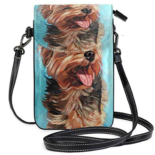 Borsa per telefono cellulare a tracolla Happy Yorkshire Terrier in The Sun Dog Painting Cell Phone Purse portafoglio per le donne ragazza piccola borsa a tracolla borse