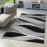 T&T Design Alfombra De Diseño Moderna Toledo Jaspeada Rayas En Tonos Grises En Negro Blanco, Größe:120x170 cm