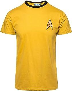 Star Trek T-shirt Captain Kirk Uniforme Bateau spatial Trekking Convention Baumw Jaune