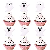 24Pcs Glitter Ghost Cupcake Toppers,Pink Halloween Baby Shower Decor,Halloween Ghosts Decoration,Gender Reveal Cupcake Toppers,Ghost Decorations,Baby Shower Cake Topper girl