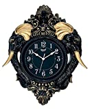 Steven Quartz Premium Designer Analog Wall Clock by Branding Hook with Vintage Design of Elephant Tooth, Size (24 Inch * 18 Inch) - Black