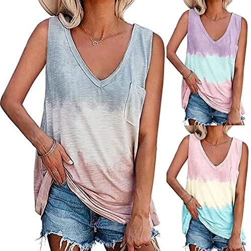 2021 Nuevo Camisetas sin Mangas Mujer, Verano Moda Cuello en V Casual Tie Dye Camisetas de Tirantes Cuadro Supersoft Suelto Playa Camisole Tops Chaleco Blusa Camisas básica tee