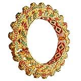 Armreif, 22 Karat vergoldet, Messing, handgefertigt, Jadau Kundan Meenakari, antik, Rajwada, Rajasthani Matka,