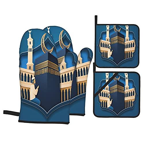 Juegos de Manoplas y Porta ollas para Horno,Kaaba Stone Eid Aladha Calligraphy Front Guantes de Cocina Resistentes al Calor para Hornear en la Cocina, Parrilla, Barbacoa,BBQ