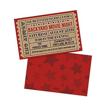 Personalized Backyard Movie Night Invitations