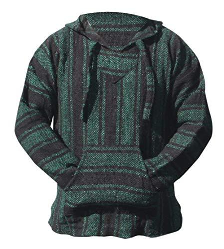 Mexican Baja Hoodie Hippie Surf Poncho Sweater Sweatshirt Pullover Jerga (X-large, Green/Black)